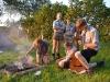 Die ehemaligen Silbermöwen beim Kochen und pyro am ersten Abend